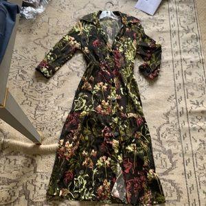 Zara floral button front shirt dress